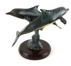 Vintage Signed Hawaiian Patina Brass Sculpture Twin Dolphins Ocean Statu... - $44.22