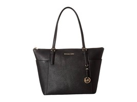 Michael Kors Jet Set Large Top-Zip Saffiano Leather Tote in Black