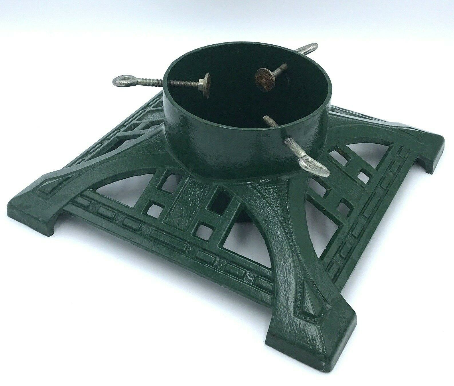 "Primary image for John Wright LL Bean Cast Iron HEAVY Christmas Tree Stand Green 14"" Square 6"""