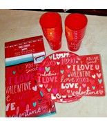 Valentines Day Party Pack Plates Napkins Cups Tablecloth - $11.29