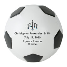"Personalized Custom Mini 6"" Soccer Ball Blue Stars Birth Announcement Gift - $34.95"