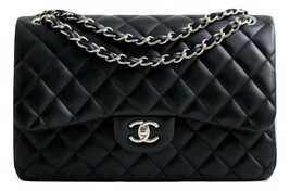 CHANEL Classic JUMBO Black LAMBSKIN Leather DOUBLE Flap Bag SHW AUTHENTI... - $4,364.03