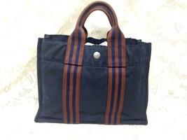 Hermes, France, Small, Dark Blue Tote Handbag 12in  x 9in x 3in - $75.95