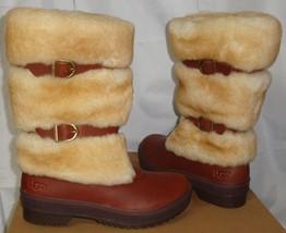 UGG Australia LILYAN Mahogany Waterproof Leather Sheepskin Boots Size US 6 NIB - $127.66