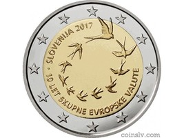 2017 Slovenia 2 euro coin - 10th anniversary of the adoption of the Euro... - $3.99