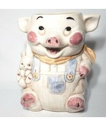 FARMER PIG COOKIE JAR VINTAGE TREASURE CRAFT MADE IN USA (NO HAT) - $35.00