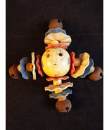 ANTIQUE CELLULOID HARD PLASTIC BABY RATTLE  Crib Toy with bells and faces - $13.85