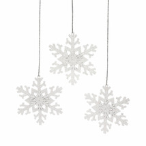 12 IRIDESCENT GLITTER SNOWFLAKE ORNAMENTS Dozen White Christmas Tree Decor - $4.85
