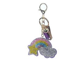 Purple Rainbow Faux Suede Tassel Stuffed Pillow Key Chain Handbag Charm - $12.95