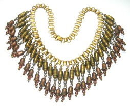 ANTIQUE ART DECO EARLY MONET SIGNED MIXED METALS BRASS FESTOON NECKLACE ... - $200.00