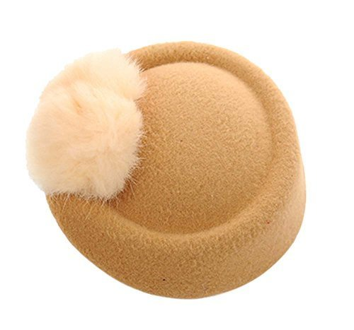 Wool Fedora Hat Small Hat Hairpin Side Clip Hair Accessories, Light Brown