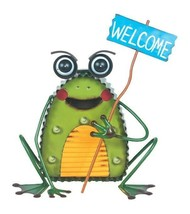 """12"""" LED Solar Metal Frog - Holding a Welcome Sign - Home and Garden Deco... - $49.49"""