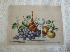 "Purple Grapes, Fruits, Wine Bottle & Glass NEEDLEPOINT STILL LIFE -16"" x... - £11.45 GBP"