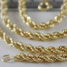 18K YELLOW GOLD CHAIN NECKLACE 3.5 MM BRAID BIG ROPE LINK 15.75, MADE IN ITALY image 3