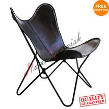 Schwarzes Leder Schmetterling Arm Stuhl Schmetterling Kuh Leder Sessel Schmette - $220.00
