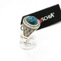 Silver Ring 925 Antique with Chrysocolla Turquoise Made in Italy by Maschia image 2