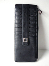 Lodis Black/Silver Pebbled Leather Credit Card Stacker Wallet Insert - NEW - $21.99