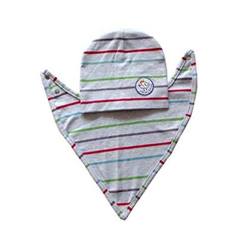 Simple Gray Stripe Style Cotton Material Baby Suit with Hood and Bib