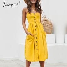 Simplee Elegant button women dress Pocket polka dots yellow cotton midi ... - $16.79