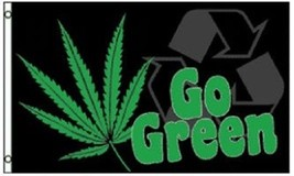 GO GREEN FLAG BANNER 3X5' MARIJUANA LEAF SMOKE NEW - $9.85