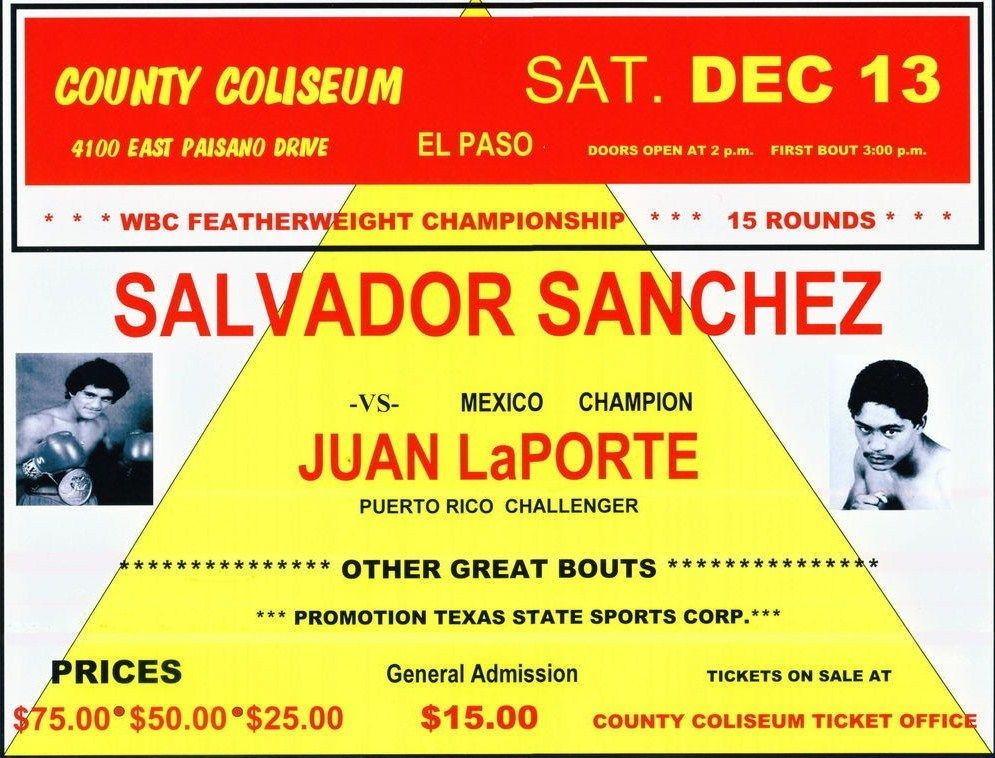Primary image for SALVADOR SANCHEZ vs JUAN LAPORTE 8X10 PHOTO BOXING POSTER PICTURE