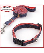 Durable Dog Collar and Leash Set~Denim Jean with Red Nylon - $9.99