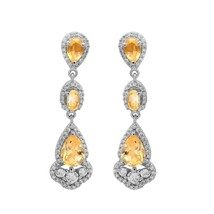 925 Sterling Silver Citrine & CZ Gemstone Drop/Dangle Wedding Earring Je... - $45.57