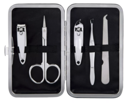 Trim Black Pink Nail Mani Emergency Grooming Kit Clippers Scissor Tweezer File image 4