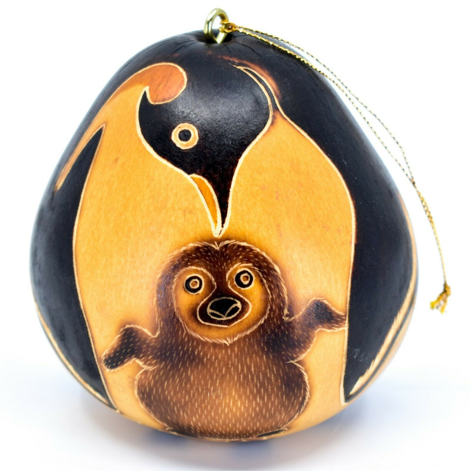 Handcrafted Carved Gourd Art Penguin Mom & Baby Zoo Animal Ornament Made in Peru