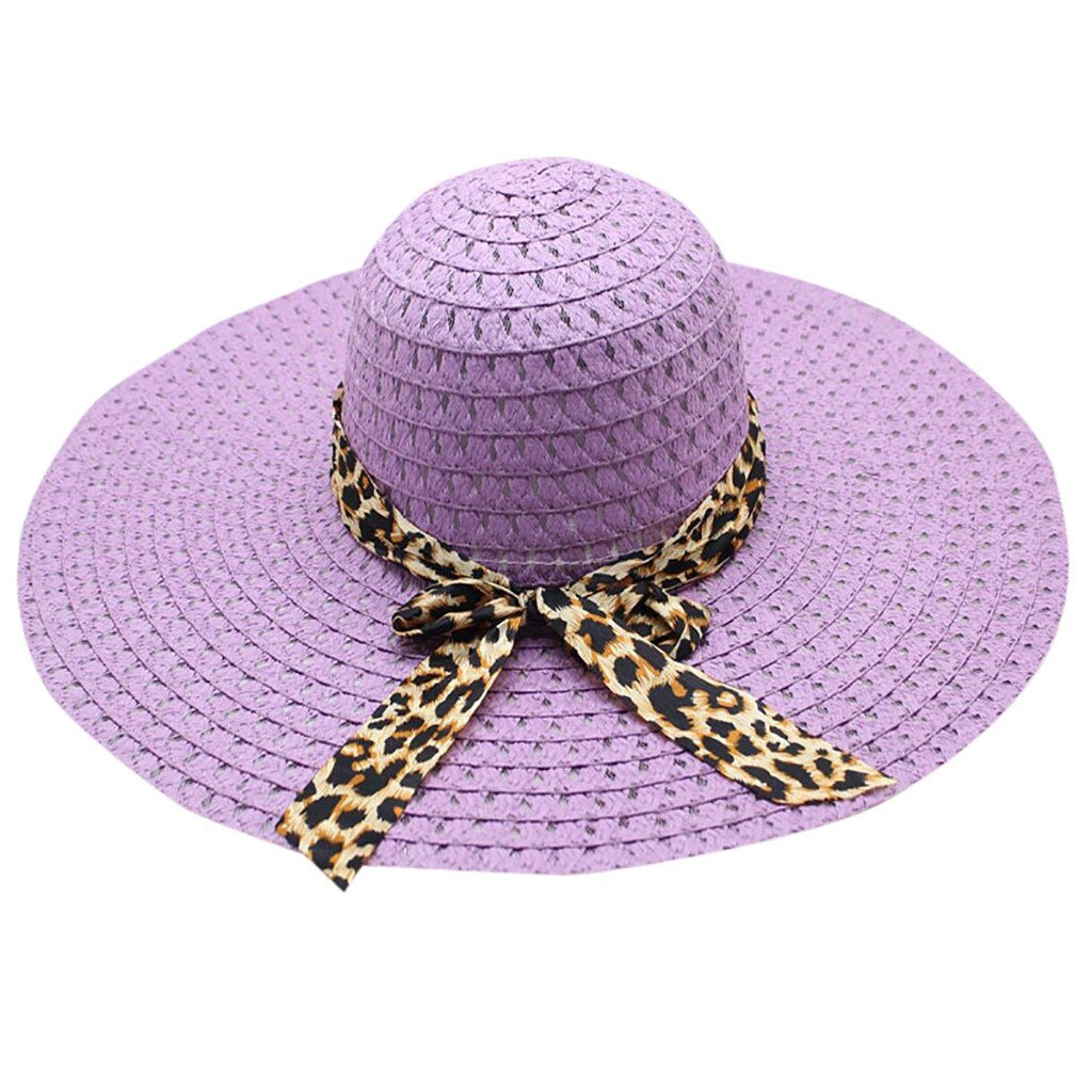 Leopard print big brim straw hat floppy wide sun hat beach summer straw hat women foldable
