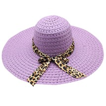 Leopard Print Big Brim Straw Hat Floppy Wide Sun Hat Beach summer straw ... - $9.22