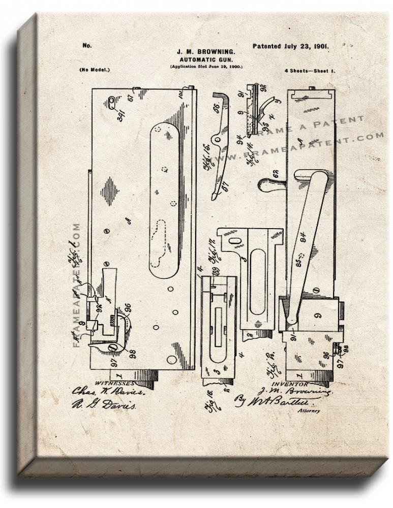 Primary image for M1917 Browning Machine Gun Patent Print Old Look on Canvas