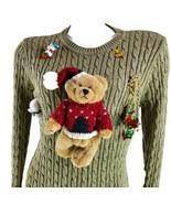 Embellished Teddy Bear Cotton Ball Snowman Medium Ugly Tacky Christmas ... - $29.69