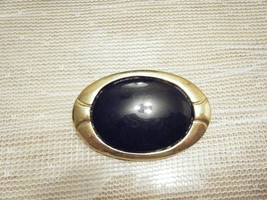 VINTAGE GOLDTONE OVAL PIN WITH BLACK STONE - $4.49