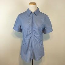 New York & Co. Women's blue Short Sleeve Zippered Front Shirt Size 12 - $12.59