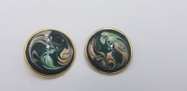 Vintage Gold Tone Black Base W/ Multi Color Hand Painted Swirl Pattern E... - $14.47