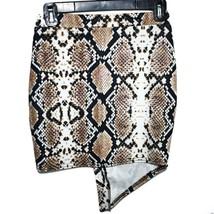 Boohoo Asymmetric Gold Tone Faux Button Snake Print Mini Skirt Size UK 8   US 4 image 2