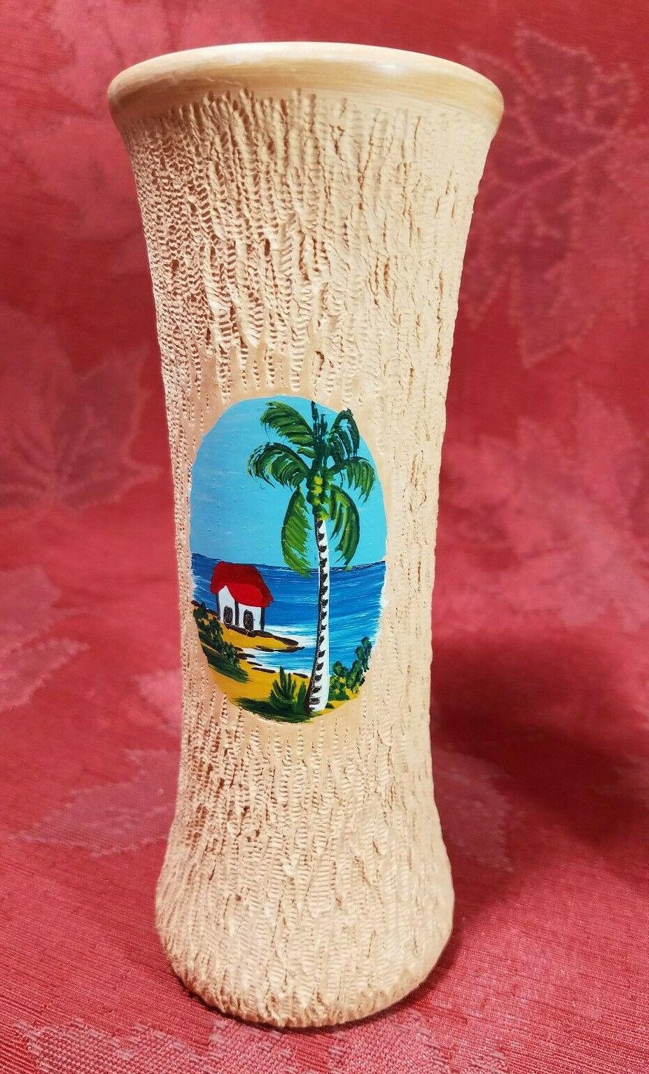 "VINTAGE HAND PAINTED BEACH SCENE ON A HAND TURNED CLAY VASE JAMAICA 6"""
