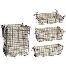Metal Basket w/ Fabric Liner Set Of 4 - €66,98 EUR