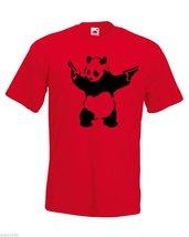 Mens T-Shirt Banksy Street Art Graffiti, Panda with Pistols, Bear Guns T... - $24.74
