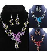 Jewelry Sets Splendid Butterfly Rhinestone Pendant Bib lace Earrings Gift 52AH - $10.99