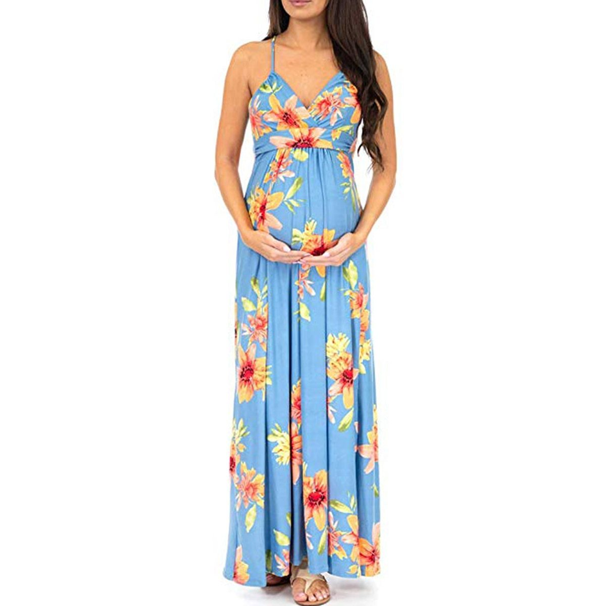 Maternity's Dress V Neck Floral Print Sleeveless Fashion Slip Dress image 3