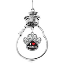 Inspired Silver I Love Pit Bulls Pave Paw Charm Snowman Holiday Christmas Tree O - $14.69