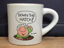 Vintage ZIGGY Stoneware Coffee Mug Cup Navy Sailor Theme Down the Hatch ... - $7.90