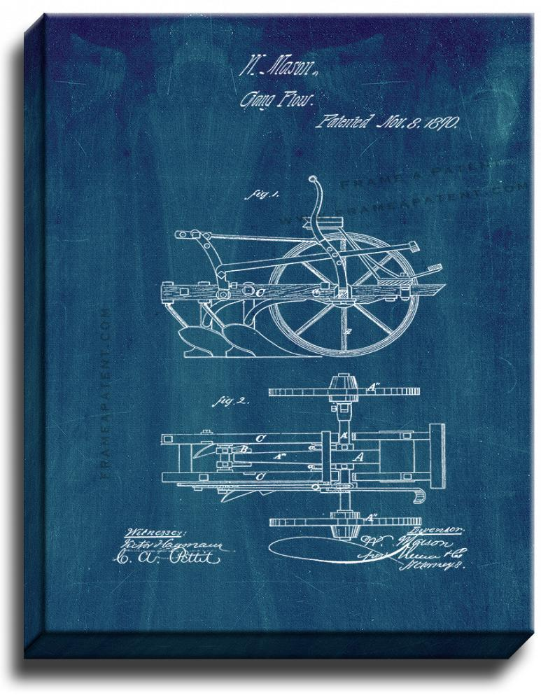 Primary image for Gang Plows Patent Print Midnight Blue on Canvas