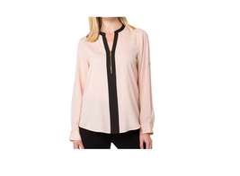 $69.5 Calvin Klein Half-Zip Animal-Print Blouse Blush S - $45.53