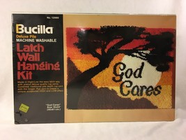 Vtg Bucilla Latch Wall Hanging Kit God Cares 12990 Deluxe Pile 18 x 24 NIB - $39.59