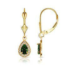 1.65 CTW Halo Emerald Pear Tear Drop Dangle Leverback Earrings 14K Yellow Gold - $115.61