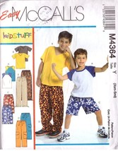 McCall's Pattern 6012 Child's T-shirts, Shorts & Pants - Size Xsm-Sml - $9.99