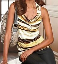 Dana Buchman Yellow Striped Cowlneck Sleeveless Knit Top XL - $24.99